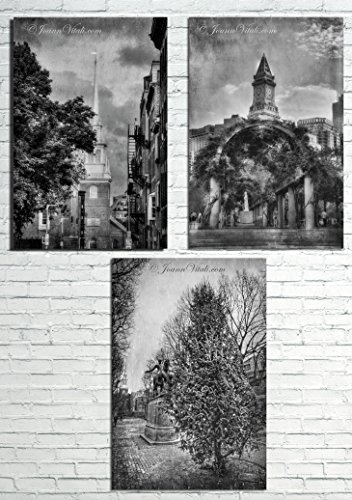 Boston North End Print Set in Black and White - Set of 3 Boston Wall Art - Old North Church - Christopher Columbus Park - Paul Revere - Boston Malls In