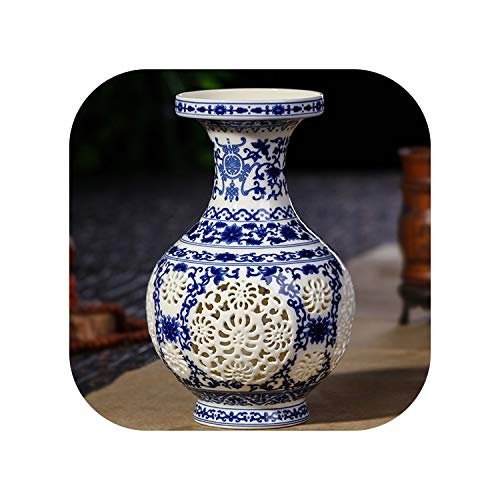 Antique Ceramic Vase Chinese Pierced Vase Wedding Gifts Home Handicraft Furnishing Articles,1 ()