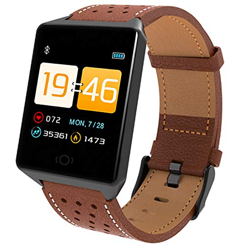 MBHB Men's Sport Watch, Heart Rate/Blood Pressure/Sleep Monitor, Running/Swimming/Riding Tracker for iPhone Android Phones, Brown ()