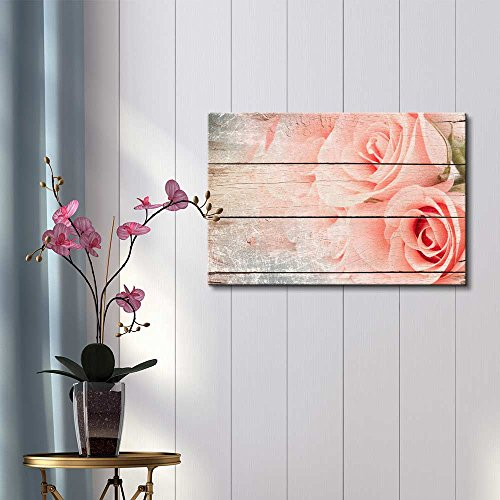 Pink Roses in a Bouquet Rustic Floral Arrangements Pastels Colorful Beautiful Wood Grain Antique