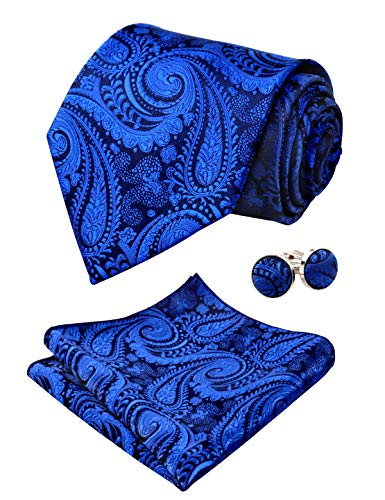Alizeal Mens Paisley Tie, Pocket Square and Cufflinks Set, Royal Blue
