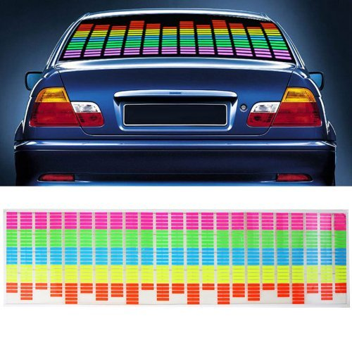 Docooler Car Sticker Music Rhythm LED Flash Light Lamp Sound Activated Equalizer (90x25cm)