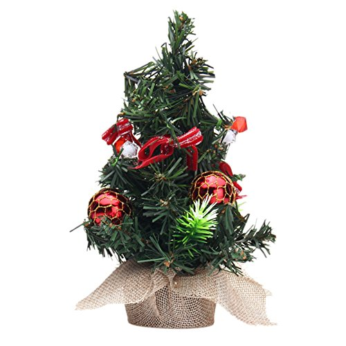 Price comparison product image Peyan 8 Inch Christmas Tree Tabletop Majestic Fir Ornament Tree with Top Bowknot Berries and Gold Ornaments Multicolor