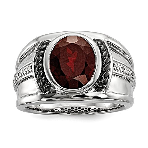 Sterling Silver Bezel Polished Prong set Gift Boxed Garnet and Diamond Oval Black Rhodium-plated Mens Ring - Size 10