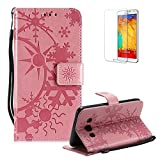 Funyye Strap Leather Cover for Samsung Galaxy J5 2016,Pink Creative Pattern Design Magnetic Flip Folio Soft Silicone PU Leather Protective Case for Samsung Galaxy J510,Stylish Multi functional Folder Wallet with Stand Credit Card Holder Slots Cover for Samsung Galaxy J5 2016/J510 + 1 x Free Screen Protector