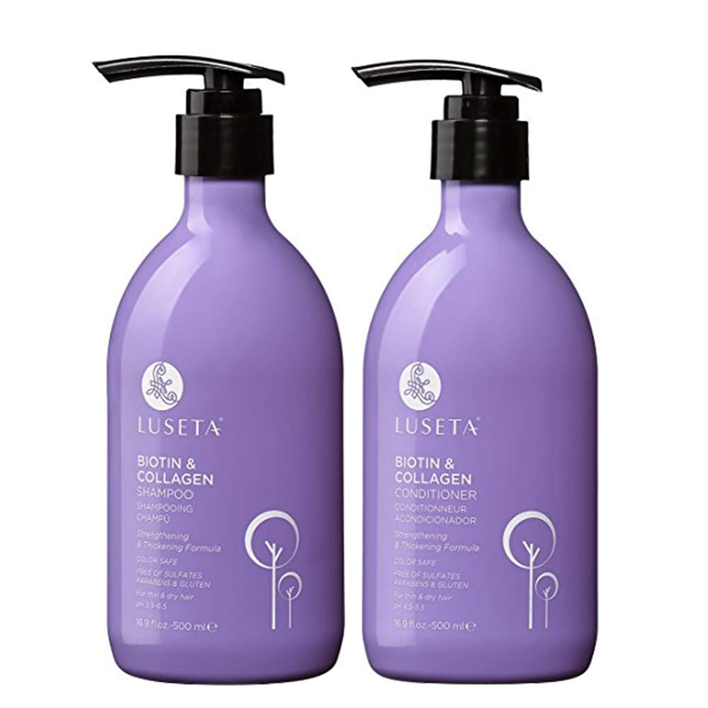 Biotin & Collagen Shampoo Conditioner Set,Thicking Shampoo for Hair Loss & Fast Hair Growth, Sulfate & Paraben Free, Keratin & Color Safe, 2×16.9oz by L LUSETA