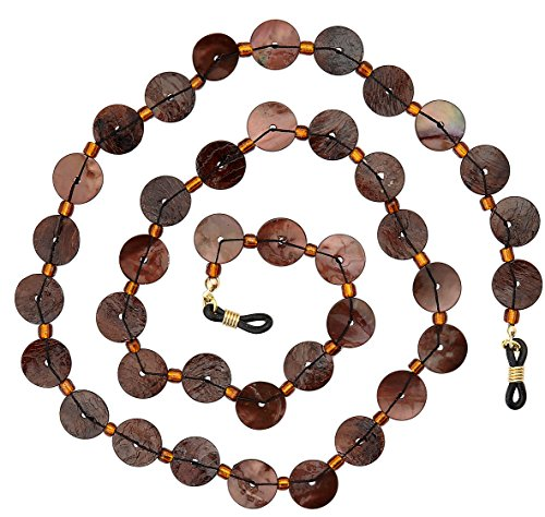 Beaded Shell Eyeglass Chain Holder Fashion Lanyard Necklace, Sandy Brown (Sandy Claws Costume)