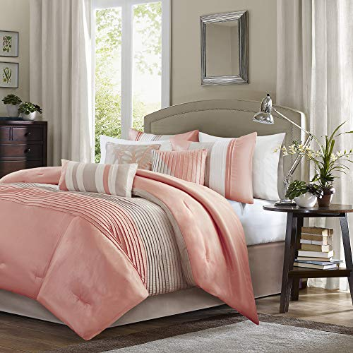 Madison Park Amherst Comforter Set Queen Coral (And Comforter Green Peach)