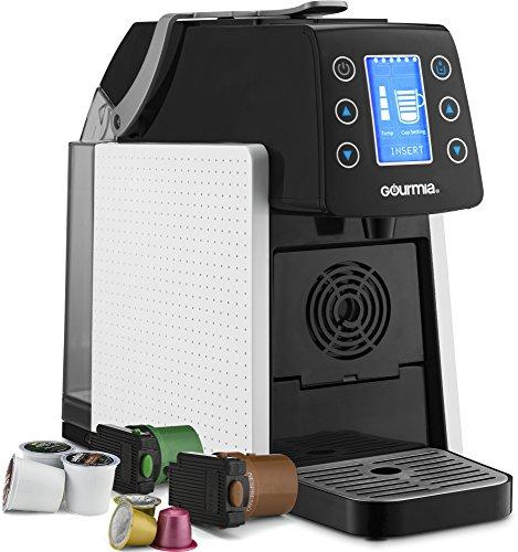 (Gourmia GCM5100 One Touch Multi Capsule Coffee & Espresso Machine - Single Serve - Compatible with K-Cup Pods & Nespresso - Adjustable Brew Temperature & Size - Digital Display -)