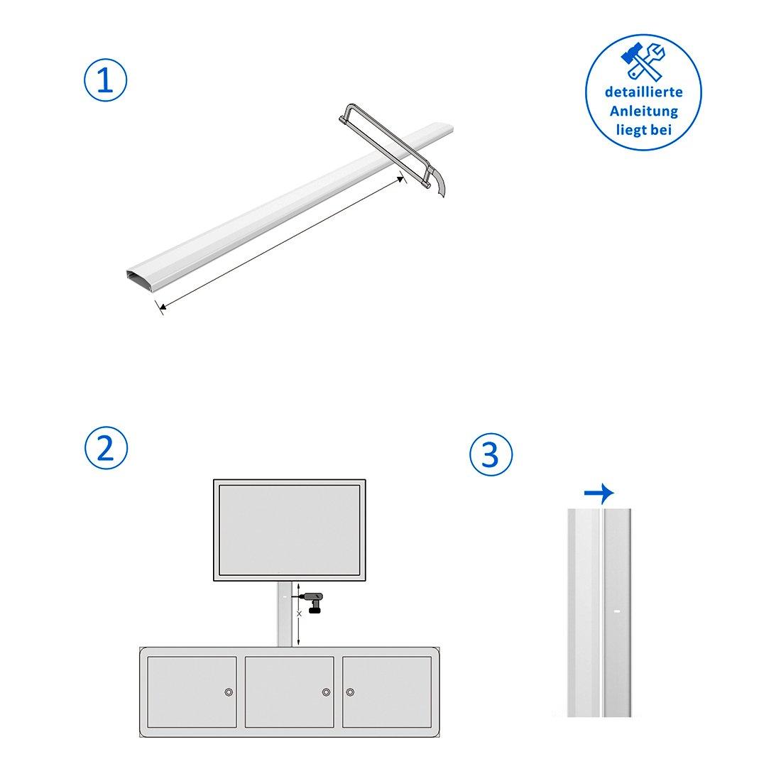 H/öhe 2cm Wei/ß deleyCON Universal Kabelkanal Leitungskanal einfaches Verlegen von Kabeln und Leitungen hochwertiges PVC L/änge 50cm Breite 6cm