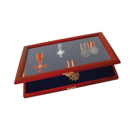 Safe Coffret vitrine en bois pour médailles et insignes