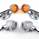 Fine Polished Style Chrome Clear Front Rear 20-LED Turn Signal Lights For Softail Dyna Wide Glide V-Rod Custom