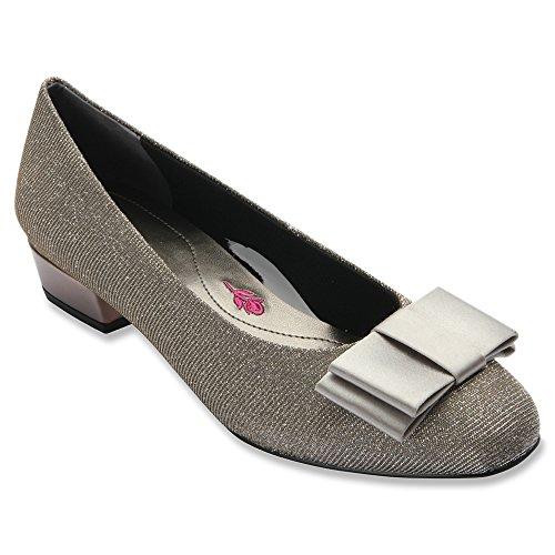 Drew Shoe 74021 Womens Teddi Shoes, Silver Glitter - 8.5WW