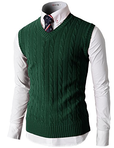H2H Men's V Neck Pullover Sweater Cotton Casual Sweat Dress Green US M/Asia L (KMOV037)