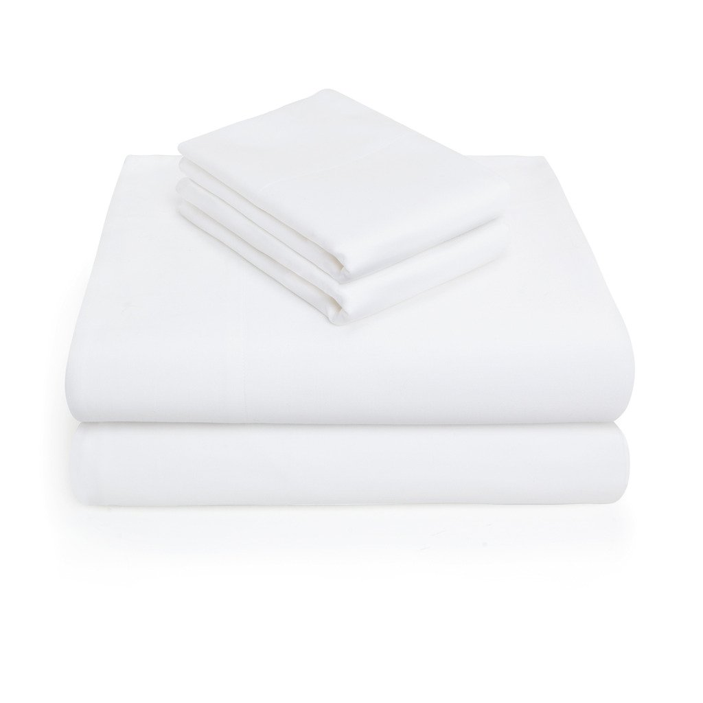 Vivendi 300 -Thread-Count King Size Bed Sheets on Amazon, Pure White - 4 Piece Set Long-staple Combed Pure Natural 100% Cotton Sheets - Soft & Silky Sateen Weave Bedding Set