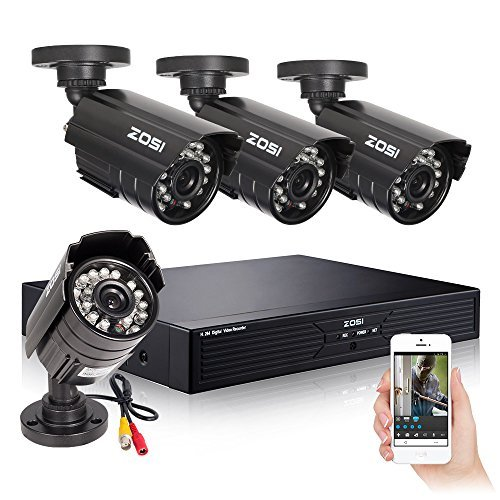 ZOSI 720P Security Camera System 720P DVR Video Recorder with 1TB Hard Drive Pre-installed and (4) 1280TVL Weatherproof Cameras with Build-in IR-cut filter