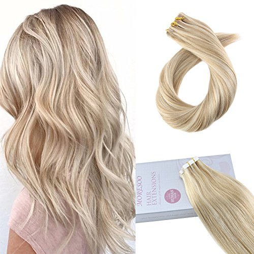 Moresoo 20 Inch Two-tone Colored Tape in Hair Bleach Blonde(Color 613) Highlighted with Honey Blonde 100 Remy Human Hair Seamless Hair Extensions Glue on Hair (Two Tone Tape)