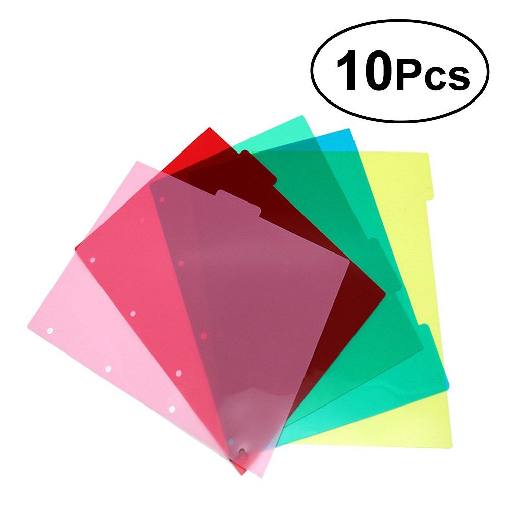 TOYMYTOY A5 Binder Index Dividers Scheda per pagina indice inseribile color PVC per Notebook 10 fogli, 5 colori