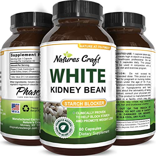 Pure White Kidney Bean Extract- 100% Effective and Optimized for Weight Loss - Carb Blocker and Prevents Fat from Forming - USA Made by Natures -