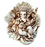"JB Premium 4.5"" Antique Ivory Patta Ganesh Statue with Rustic Finish. Unique Lord Ganesha Idol in a Leaf Figurine. (Antique Ivory Rustic Finish)"