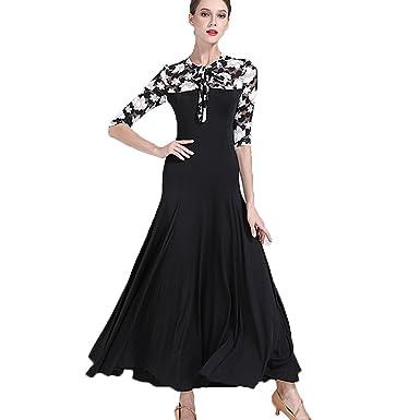20405983740 Rongg Moderne Tanzkleider Für Frauen Schnüren Ärmel Ahornblatt Drucken  Wettbewerb Praxis Kleider Standard Ballroom Tanz Kostüme Walzer Tanz-Outfit   ...