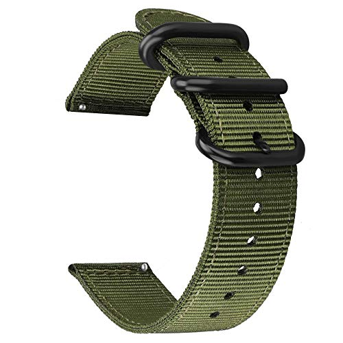 (Ticwatch Pro Band,ViCRiOR NATO Premium Soft Woven Nylon Quick Release Replacement Strap Band with Metal Buckle for Ticwatch Pro Women Men, Army Green)