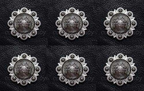 (Conchos for Clothes Set of 6 Western Headstall Horse TACK Antique Pistols Conchos 1-1/2
