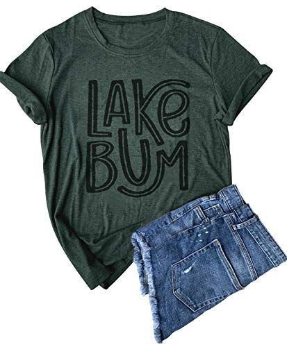 Women Funny Letter Printed Tees Lake Bum Printing T-Shirt Summer Short Sleeve Casual Tops (XXL, Dark Green)