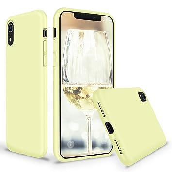coque iphone xr jaune silicone