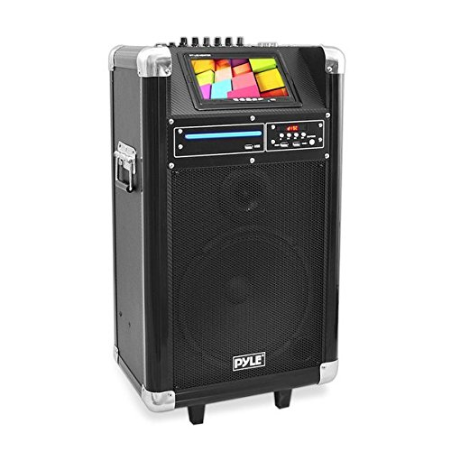 Pyle Portable Pa Speaker Karaoke Machine Speaker Boombox Wireless Microphone Sound System Wireless Bluetooth Built-In Battery, MP3 USB SD FM Radio, Use for DJ, Stage Monitor (PKRK10)