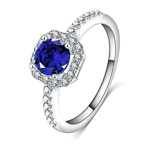 Price comparison product image AmDxD Promise Rings for Womens Silver Plated Bands Blue Round Crystal Silver Size 8