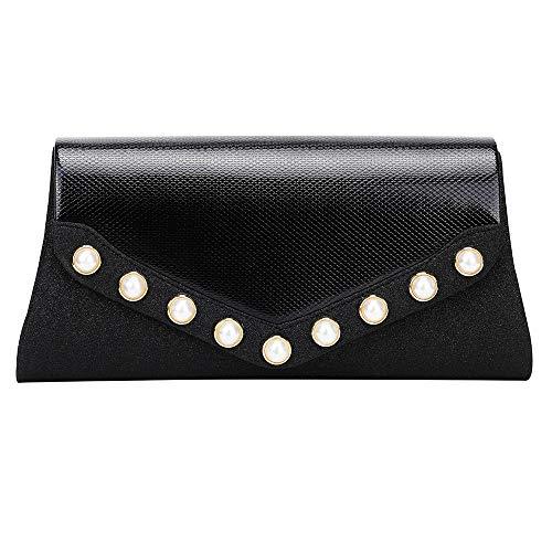 Marswoodsen Women Envelope Evening Bag Clutch Purse PU Leather Pearl Handbag for Wedding Cocktail Party