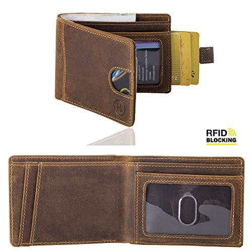 Front Pocket Minimalist Leather Slim Wallet RFID Blocking Money Clips Mens Wallet
