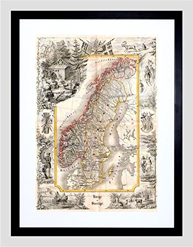 Sweden Antique (MAP ANTIQUE 1847 MUNCH NORWAY SWEDEN DECORATIVE FRAMED PRINT F97x11367)