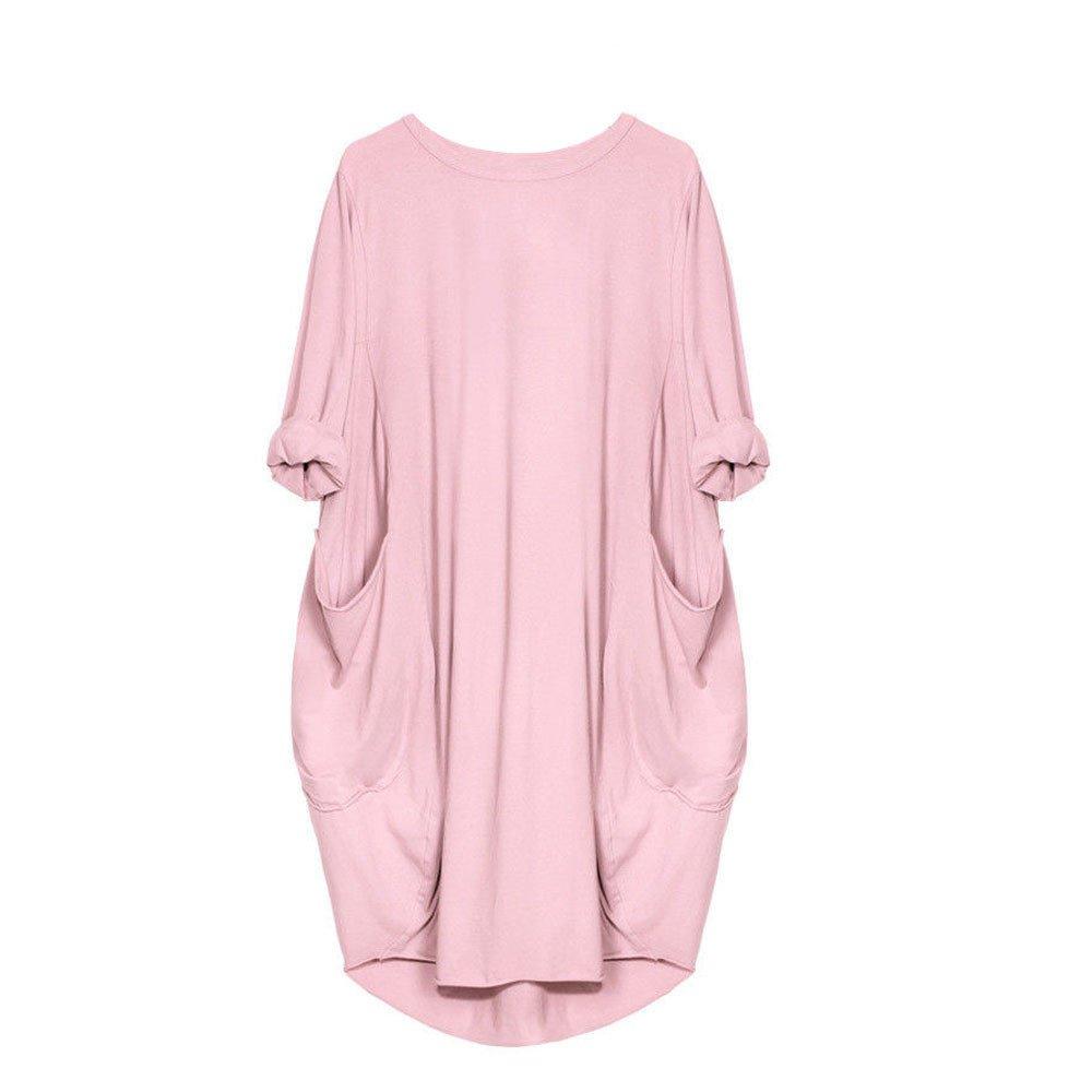 Realdo Women Dress,Crewneck Loose Sleeve Casual Tops Dress