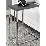 Monarch Specialties I 3030 Accent Table, Glossy Grey with Chrome Metal
