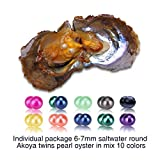 Twins in Mix 10 Colors of 6-7mm Akoya Round Cultured Pearl Oysters in Saltwater, 10pcs, for Women
