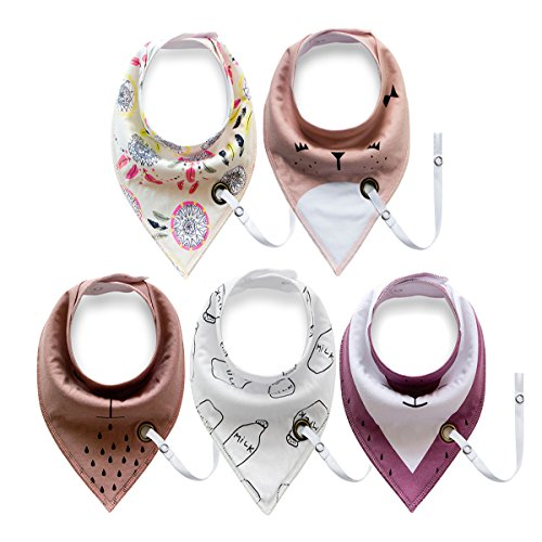 5-Pack Baby Bandana Drool Bibs (Gift Set), Super Absorbent, Baby Bibs With Pacifier Clip/Teething Ring Holder, Baby Bibs for Boys and Girls,100% Organic Cotton from Princess Chateaux