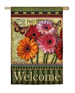 Floral Wishes House Flag with Wood Pole