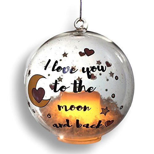 Love Ornament (Glass Ball Ornament - LED Light Up Christmas Ornament with I Love You To The Moon and Back Design - Hearts and Moons)