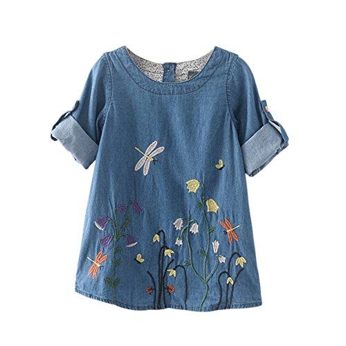 Wongfon T-shirt bambina con ricamo in denim per bambini da 2-6 anni Blu