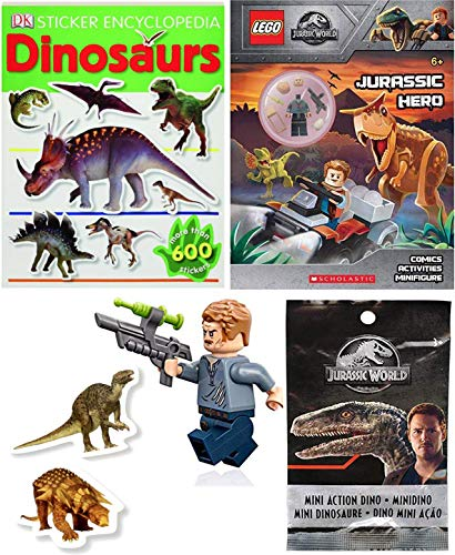Owen Mini Figure Hero Adventure Park Jurassic World Lego Comic Bundled with + Character Action Dinosaur Blind Bag + Sticker Book Dino Encyclopedia 3 Items