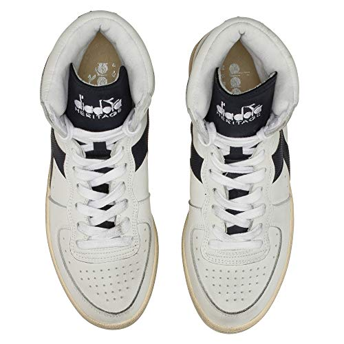 Used Diadora 43 Mi Sneakers Basket Heritage Unisex EU Pelle Bianco Adulto RrztxrXwq