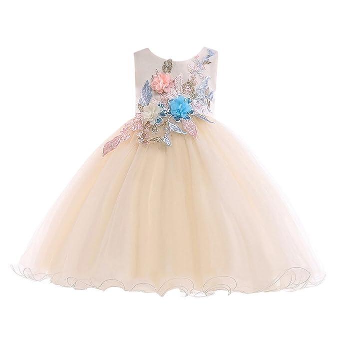 da07a2eacd K-youth Vestidos de Fiesta Niña para Bodas de Noche Flores Encaje Floreado  Vestido de Princesa para Niña Traje de Ceremonia Elegantes Vestido de Niña  ...