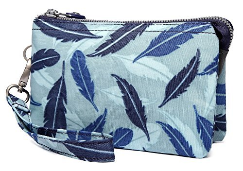 Crest Design Water Repellent Nylon Wristlet Clutch Wallet Cell Phone Pouch (Blue Feather) by Crest Design (Image #6)