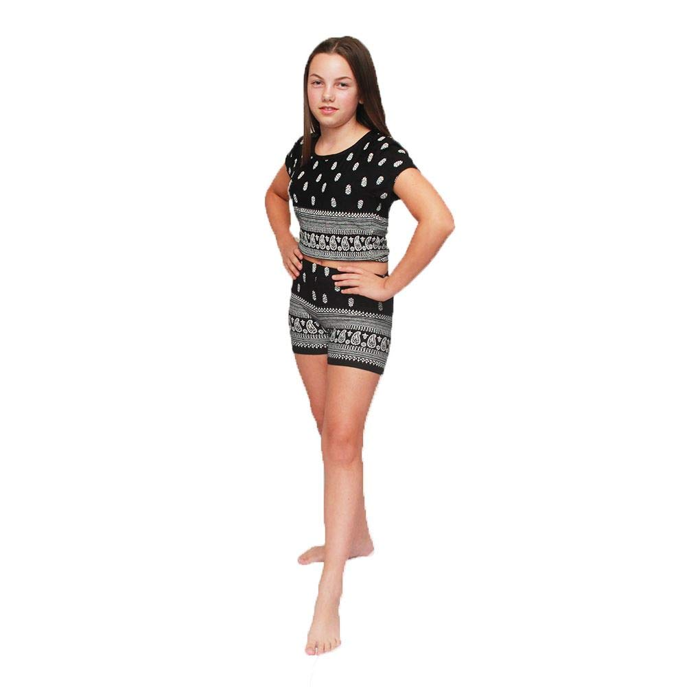 SendIt4Me Childrens Black/White 2 Piece Playsuit - Crop top and Shorts
