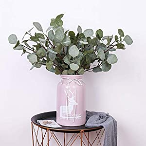 YUYAO Artificial Plants Silver Dollar Eucalyptus Leaves 6Pcs Leaf Silk Artificial Greenery Stems Fake Plants Leaves for Home Wedding Party Decoration 5