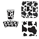 Beistle Cow Print Party Supplies Set: Plates, Napkins, Cups Kit for 16