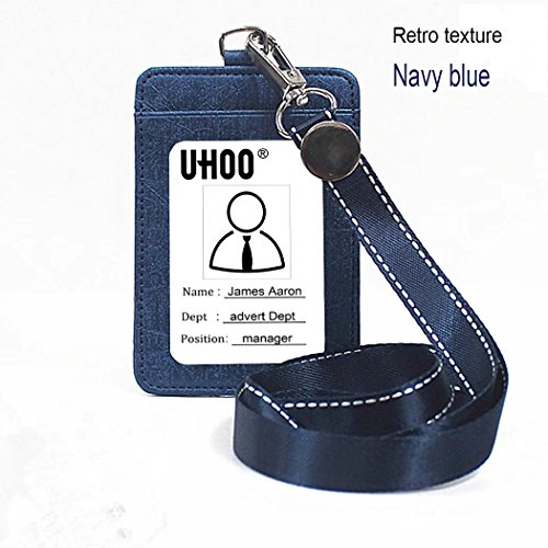 - Badge Holder, PU Leather ID Card Badge Holder with Neck Lanyard/Strap, 1 ID Window and 1 Card Slot Can Hold 3 Cards(Retro texture navy blue)