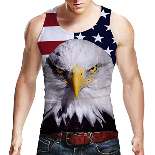 Leapparel Mens Running Tank Top Funny Graphic Printed Sport and Casual Relaxed Vest Shirt Big Size American Flag Eagle Tshirts Tees Small